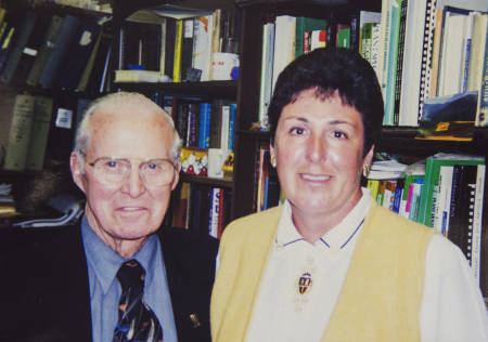 Anne McKendry poses with Norman Borlaug, World Food Prize founder and Nobel Prize laureate, when he visited the MU campus in 20XX.