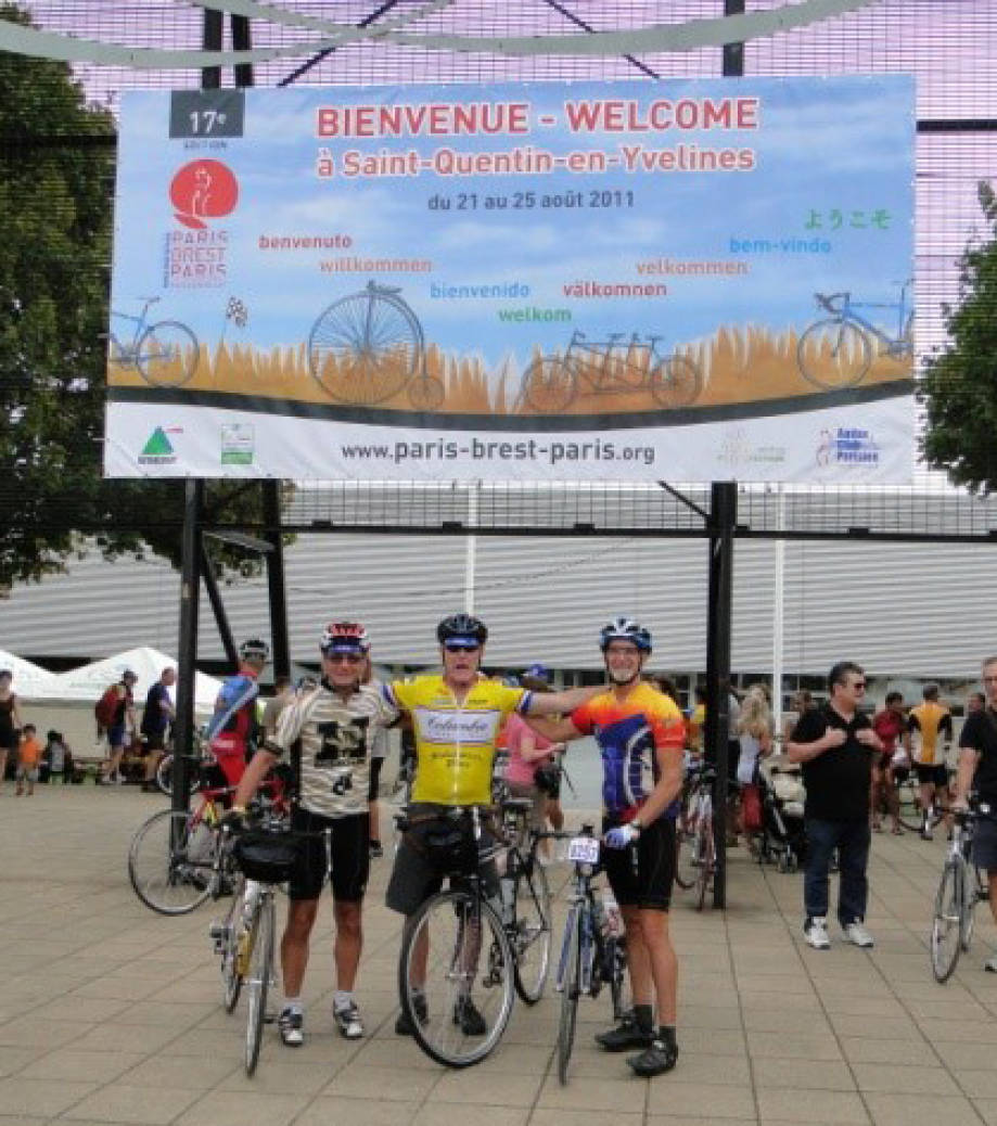 Geisert (left) has competed in numerous brevets across the United States. He is pictured here before his brevet in Paris, France -- his first overseas brevet. Photo courtesy of Rodney Geisert.
