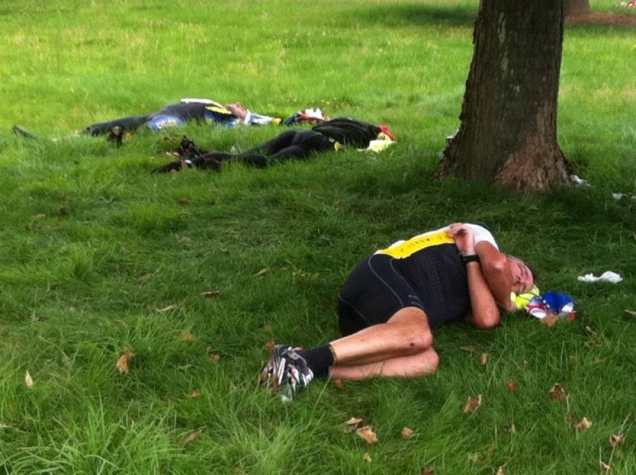 Sometimes exhaustion sets in and randonneurs need a quick power nap. Photo courtesy of Rodney Geisert.