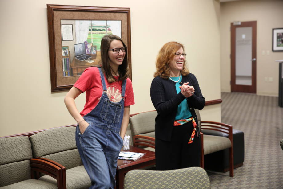 Maria Kalaitzandonakes and Garnett Stokes, Provost and Executive Vice Chancellor for Academic Affairs, share a laugh.