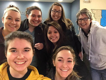 Sharon Wood-Turley, right, and members of the Agricultural Communicators and Leaders of Tomorrow student group she advises after they volunteered at The Food Bank for Central and Northeast Missouri earlier this semester. Photo courtesy Sharon Wood-Turley.