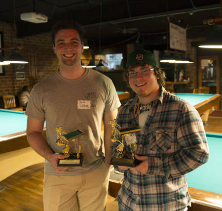 Jordan Wendt and Max Nunes, natural resources master's students, take home trophies for ranking first out of 22 teams