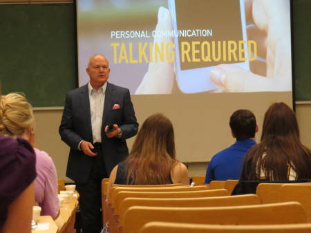 Gardner speaks to a class during his Executive-in-Residence visit.