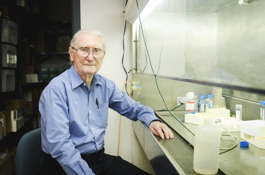 Under the hood shown here in a laboratory in Eckles Hall, Boyd O'Dell has conducted most of his research as a professor emeritus. He first stepped on to the MU campus in 1937.