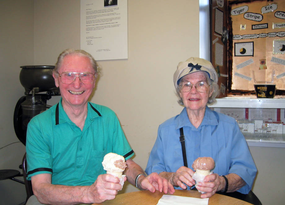 Boyd and Vera enjoy some ice cream at Buck's Ice Cream, located a floor below Boyd's lab area in Eckles Hall. Photo courtesy of Ann O'Dell.