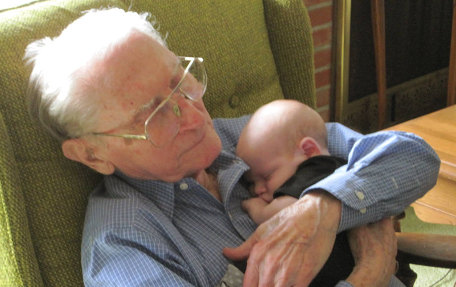 Boyd O'Dell holds the youngest of his two great grandchildren, Riker, in Thanksgiving Day of 2014. Photo courtesy of Ann O'Dell.