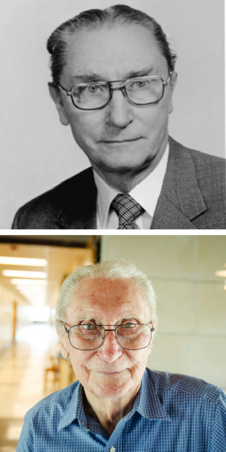 Doug Randall, then (????) and now. Top photo courtesy of the biochemistry department. Bottom photo by Nate Compton.