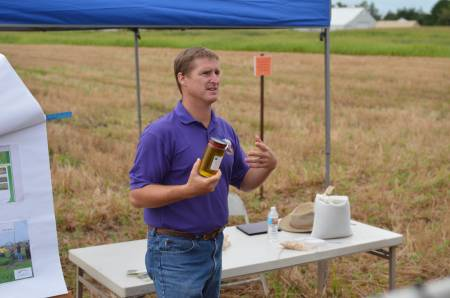 Win Phippen, from Western Illinois University, presents on pennycress during the Greenley Research Center Field Day last year. Phippen is a professor of plant breeding and genetics at WIU.
