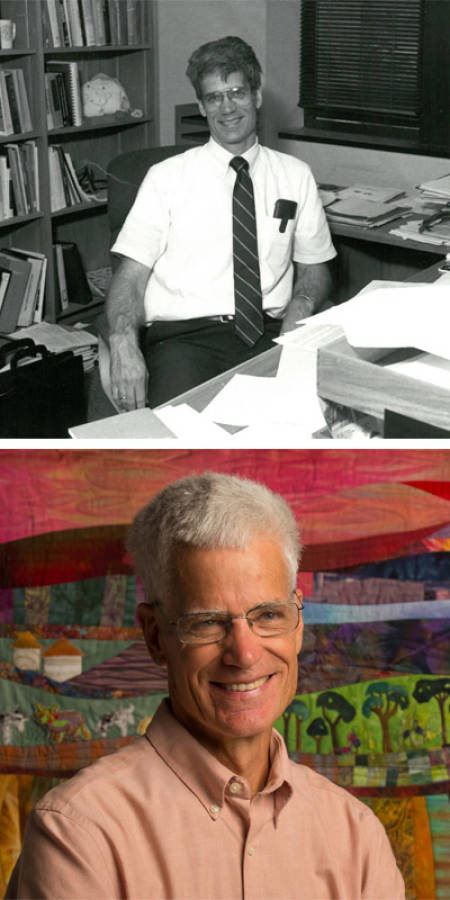 Bill Folk then (early '90s) and now. Top photo courtesy of the biochemistry department. Bottom photo by L.G. Patterson.