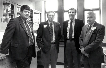 In this photo from 1986, Missouri state senator. Mike Lybe(?), former biochemistry chair Milt Feather, former CAFNR dean Roger Mitchell and former MU provost Ron Bunn. Photo courtesy of the biochemistry department.