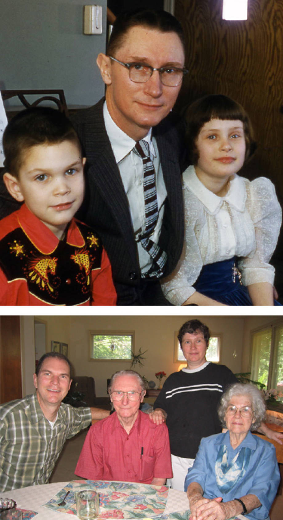 Top: Boyd O'Dell poses with his children in this photo from the '60s. Bottom: The O'Dell family (with Vera on the far right), taken in 2003. Photos courtesy of Ann O'Dell.