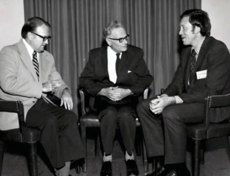 In this photo taken before the major, Benedict Campbell, the chair of the medical school's biochemistry department and Milt Feather, the chair of the agricultural chemistry department, meet with with Sir Hans Krebs, a famous biochemist who won the Nobel Prize in Physiology or Medicine in 1953. The Krebs Cycle is named after him. Photo courtesy of the biochemistry department.