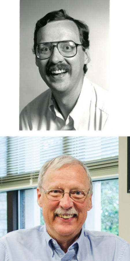 Frank Schmidt, then (early '90s) and now. Top photo courtesy of the biochemistry department. Bottom photo by Nate Compton.