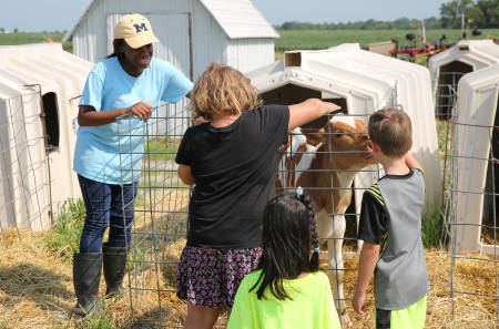 The Foremost Dairy Research Center gives tours throughout the spring and summer months. Farm Manger John Denbigh said that 2,000 to 3,000 children visit the dairy during that time. Photo by Logan Jackson.