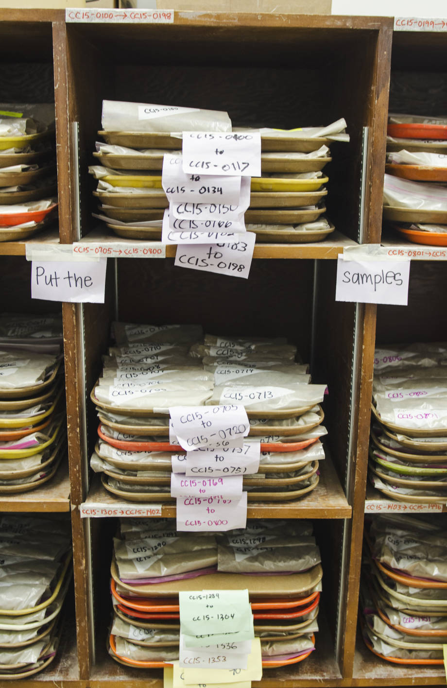 Trays of soil samples stacked on shelves are a common site at the Soil Health Assessment Center at the South Farm Research Center. Besides receiving samples all over Missouri, the center has also been sent samples from Iowa, South Dakota and Alberta, Canada.