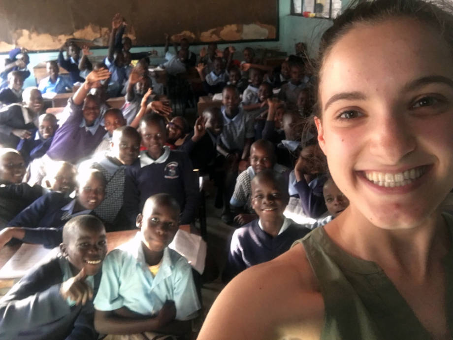 Holly Enowski takes a selfie with some of the 83 fifth graders whom she taught English to this past summer. Photo courtesy of Holly Enowski.