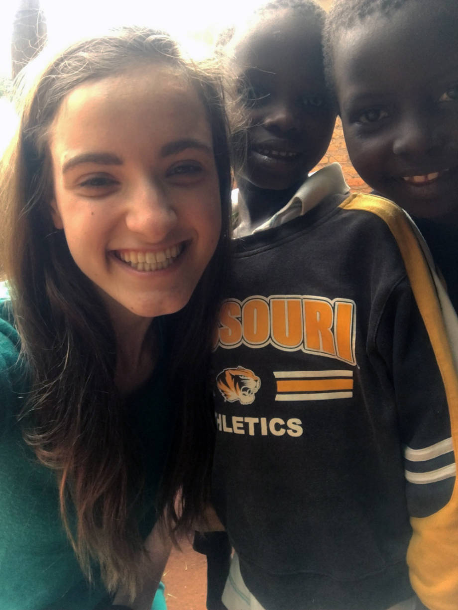 One of the children Holly Enowski met in Kenya was a boy named Clinton, who happened to be wearing a Mizzou sweatshirt. Photo courtesy of Holly Enowski.