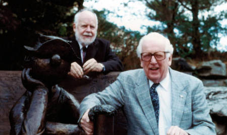 Don Luckey, left, and Charles Gehrke pose next to the statue of Beetle Bailey on the MU campus in Oct. 1994. Photo courtesy of Yvonne Hill and David Wixom.