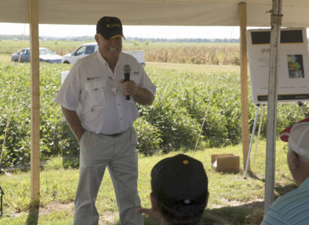 Grover Shannon talks to attendees of the Fisher Delta Research Center Field Day, which took place Friday, Sept. 2 in Portageville. More than 1,200 guests attended the event.