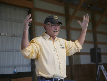 Thompson Research Center Superintendent Rodney Geisert talks to attendees of the Thompson Research Center Field Day, which took place Tuesday, Sept. 20 in Spickard.