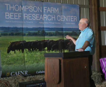 Dave Patterson talks to attendees of the Thompson Research Center Field Day, which took place Tuesday, Sept. 20 in Spickard.