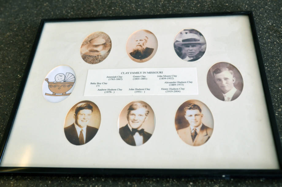 "This collection of portraits shows the seven generations of Clays, dating back to Jeremiah Clay. ""Baby Boy Clay"" on the left side turned out to be Andrew's son Henry, followed by another son, Hayden."