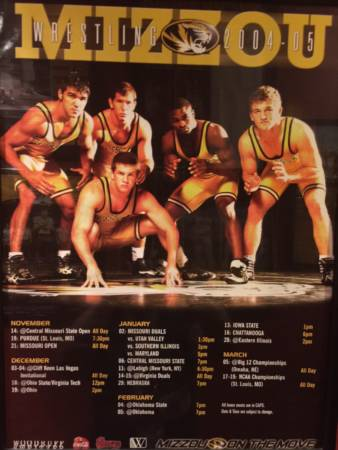Tyron Woodley was a two-time All-American wrestler at Mizzou before going onto fame as a UFC fighter. In this photo from a schedule poster of his senior year, to the right of Woodley is teammate Ben Askren, who also began an MMA career following his tenure as a MU wrestler. Photo courtesy of Tyron Woodley.
