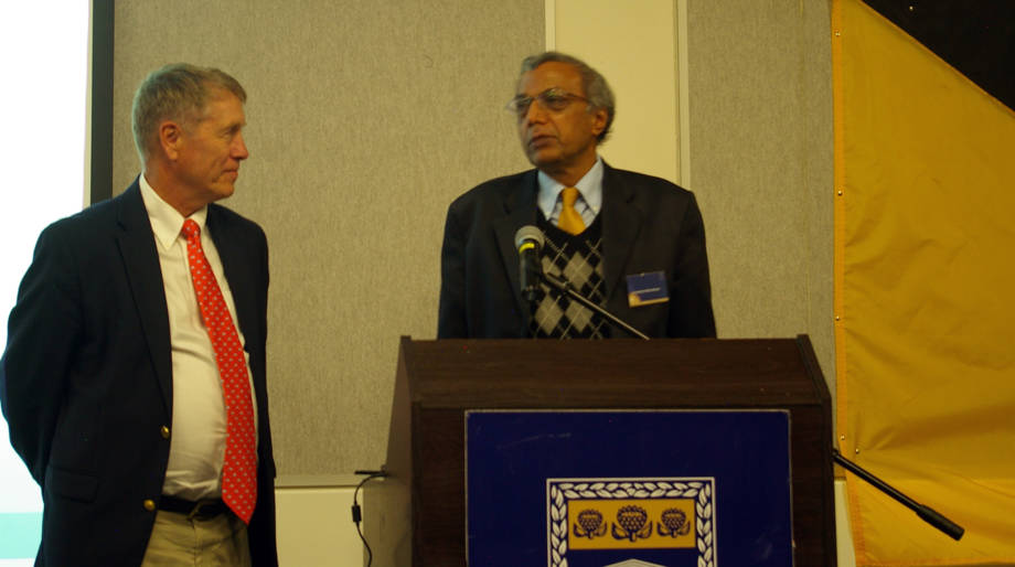 UMSAEP director Rod Uphoff, left, shares the podium with UWC counterpart, Ramesh Bharuthram, at the 30th anniversary celebration in Cape Town last May. Photo courtesy of Rod Uphoff.