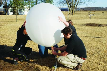 Launching a weather balloon