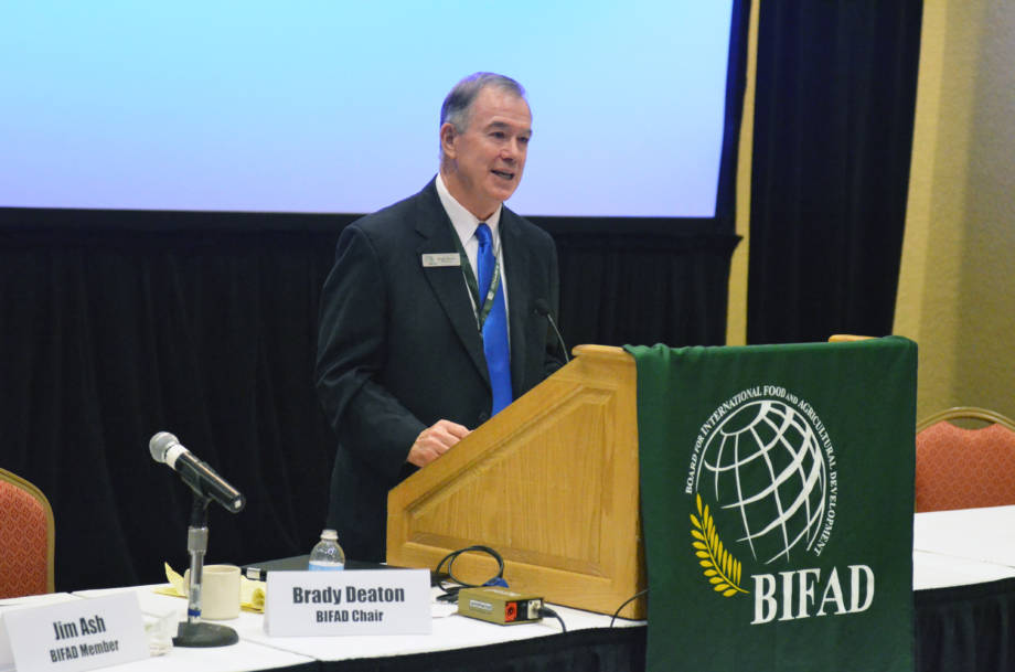 Brady Deaton, former chancellor of the University of Missouri, addresses the crowd at a public meeting of the Board for International Food and Agricultural Development. Deaton serves as the chair of BIFAD.