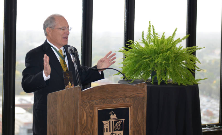 CAFNR Dean Tom Payne addresses the crowd at the Borlaug Fellows Honor Luncheon on Oct. 12 at the Ruan Building's Embassy Club.