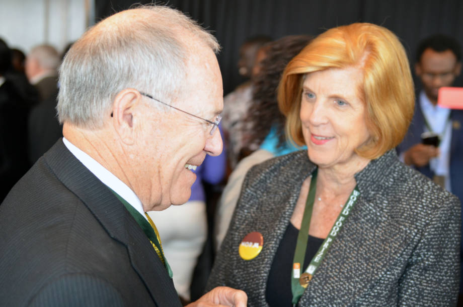CAFNR Dean Tom Payne shares a moment with Jeanie Borlaug Laube, the daughter of Norman Borlaug and chair of the Borlaug Global Rust Initiative, at the end of the Borlaug Fellows Honor Luncheon.