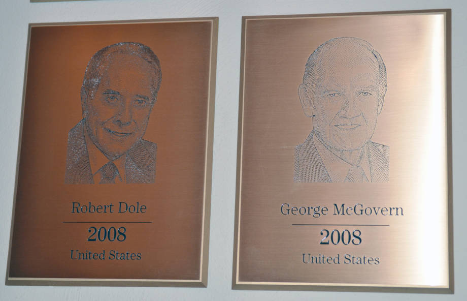 The plaques of Bob Doles and George McGovern sit right next to each other in The World Food Prize Hall of Laureates. The two former politicians both received the honor in 2008.