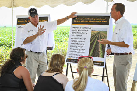 Grover Shannon (left) and Andrew Scaboo (right) share soybean research results with producers and local high school agriculture students at a past Fisher Delta Research Center Field Day. Shannon and Scaboo have collaborated with Chen on several projects. Photo by Kyle Spradley.