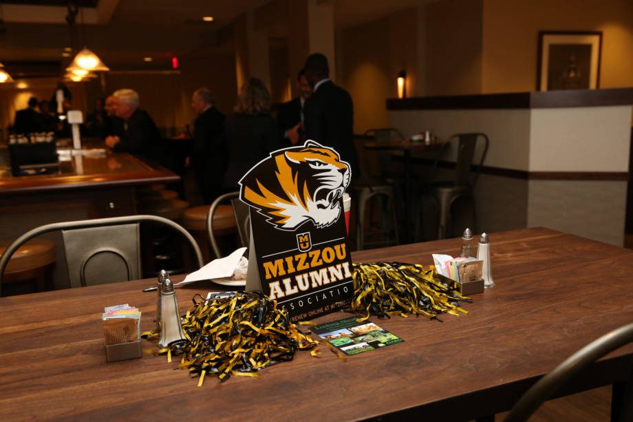 A Mizzou Alumni Association sits on a table at an alumni function at the Rock River Grill at the Marriott in downtown Des Moines. Photo courtesy of The World Food Prize.