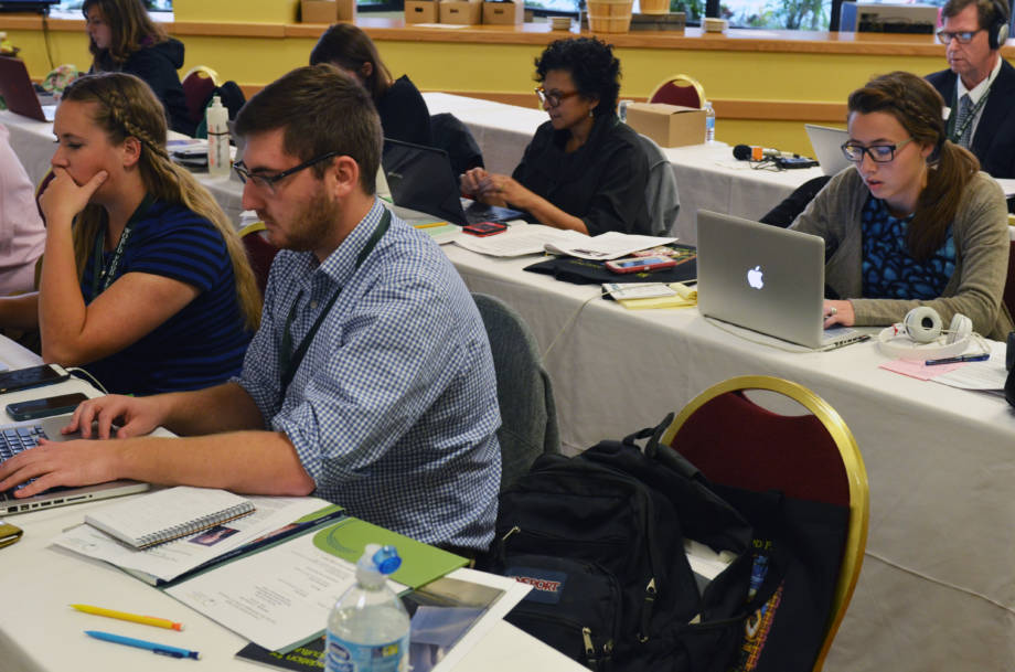 A group of students in the Science and Agricultural Journalism department work on their stories in the press Room at The World Food Prize at the Marriott in Des Moines on the evening of Oct. 12.