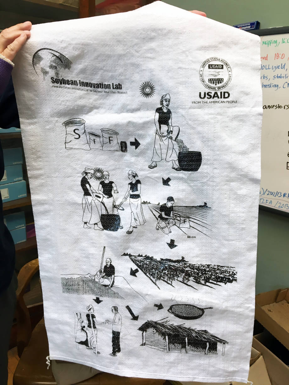 The soybean success kits that were distributed to smallholders and farmers in Ghana and Mozambique in bags that contained a cartoon instructions of how to prepare the seeds to overcome any language or literacy barriers.