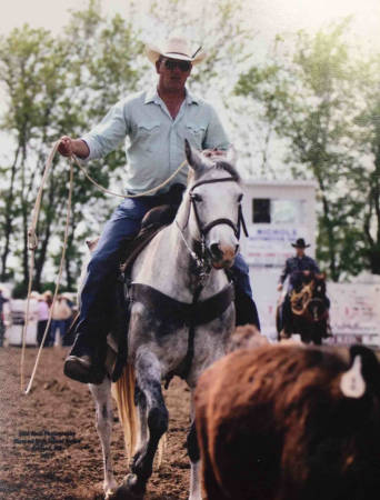 Mike Baumgartner owns four horses. He said the rider's relationship with their horse is the key for any rodeo event. Photo courtesy of Mike Baumgartner.