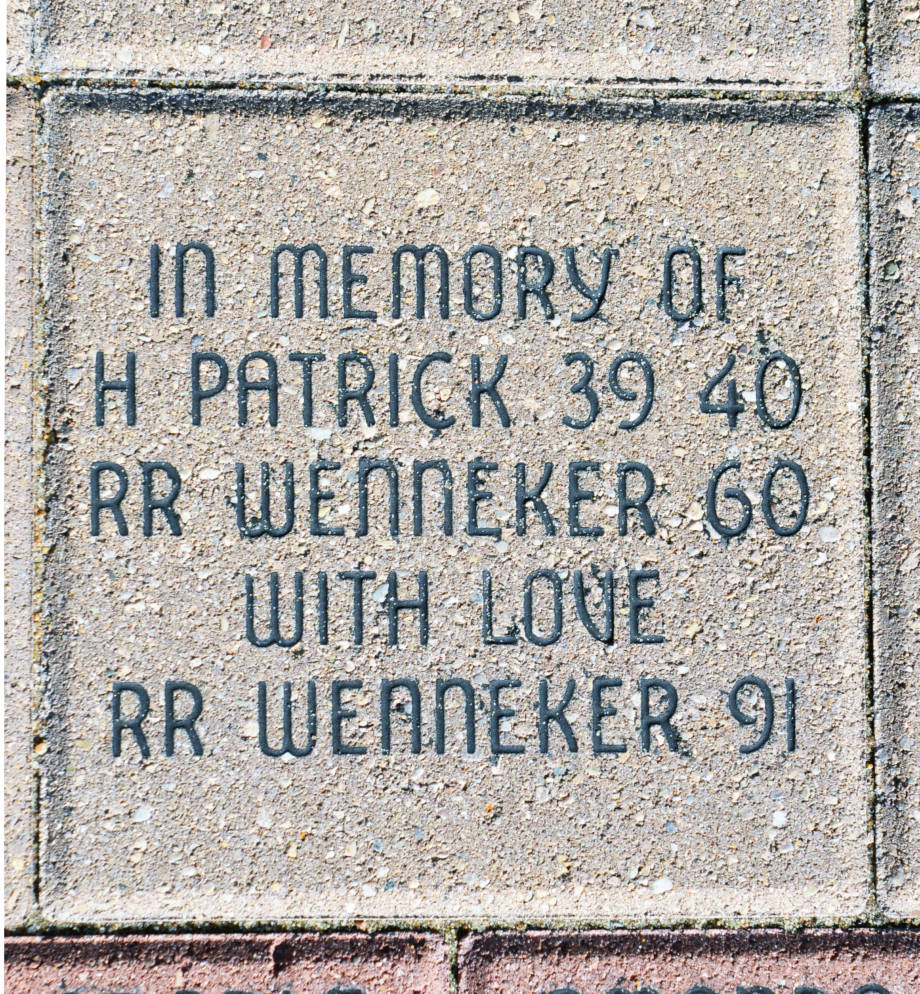 Robin Wenneker decided to honor her grandfather, Homer Patrick, and her father, Ron Wenneker, with a brick at Traditions Plaza when the plaza opened. Photo by Stephen Schmidt.