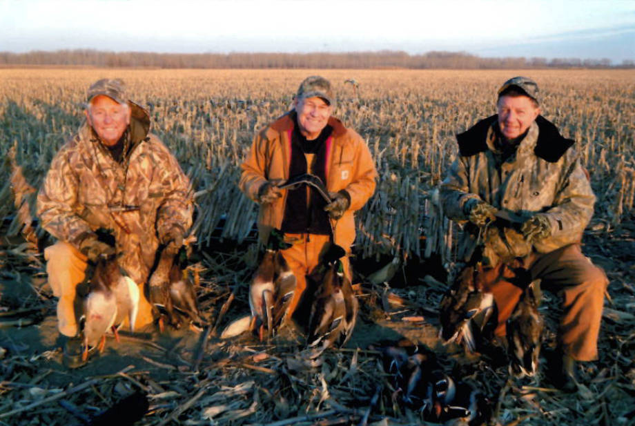 Lowell Mohler, CAFNR Dean Tom Payne and Bill Jackson pose following a hunting trip in December 2014 near Wakenda, Mo. Photo courtesy of Lowell Mohler.