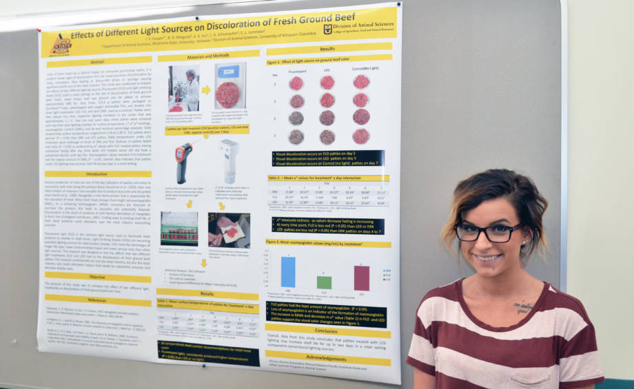 Jade Cooper stands next to the poster about the initial research on light sources affecting the color of ground beef down back in the summer of 2014. Photo by Stephen Schmidt.