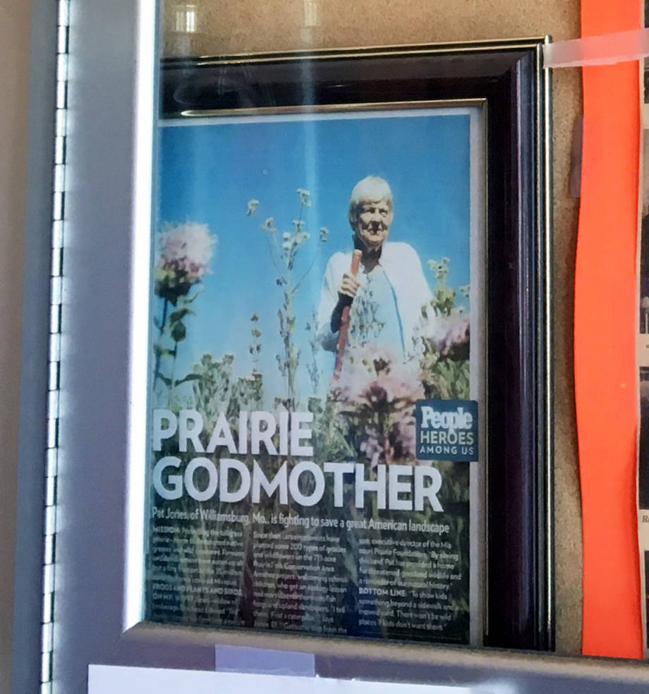 "A copy of the ""Prairie Godmother"" article from People magazine sits in a display case leading into Marlene's Restaurant in Williamsburg, where Pat Jones is a regular."