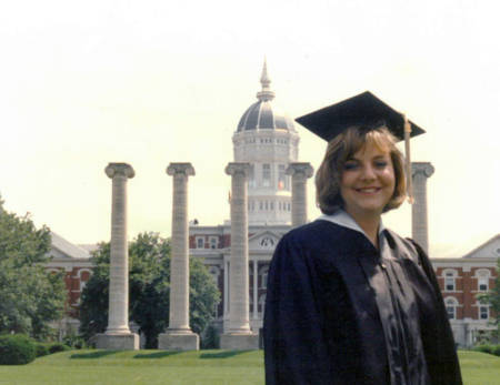 Robin Wenneker on her graduation day in 1991 in front of the Columns and Jesse Hall. Photo couresty of Robin Wenneker.