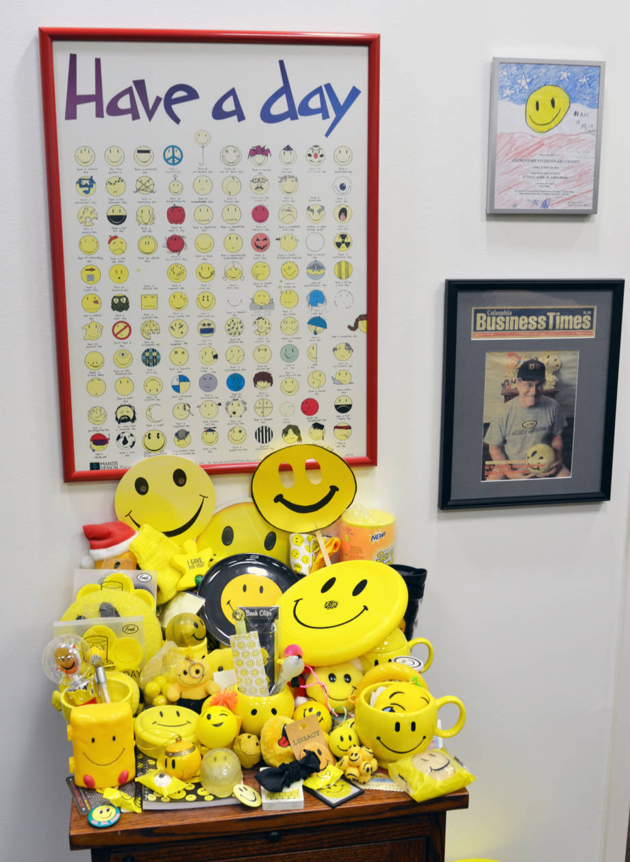 The office of CAFNR Dean Payne includes plenty of smiley face paraphernalia. Photo by Stephen Schmidt.