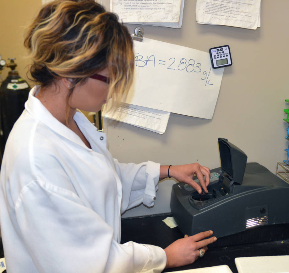 Jade Cooper uses a spectrofluorometer to analyze samples of red meat. Photo by Stephen Schmidt.