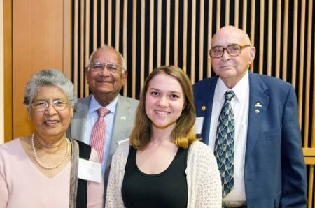 Kamal and Sudha Yadav have established a scholarship, which Julia Brose was awarded. Left to right: Sudha Yadav, Kamal Yadav, Julia Brose, George Garner.