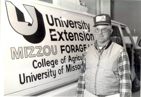 Retired MU Extension livestock specialist Charlie Rosenkrans in early years of his Extension career. Photo courtesy of Duane Dailey.