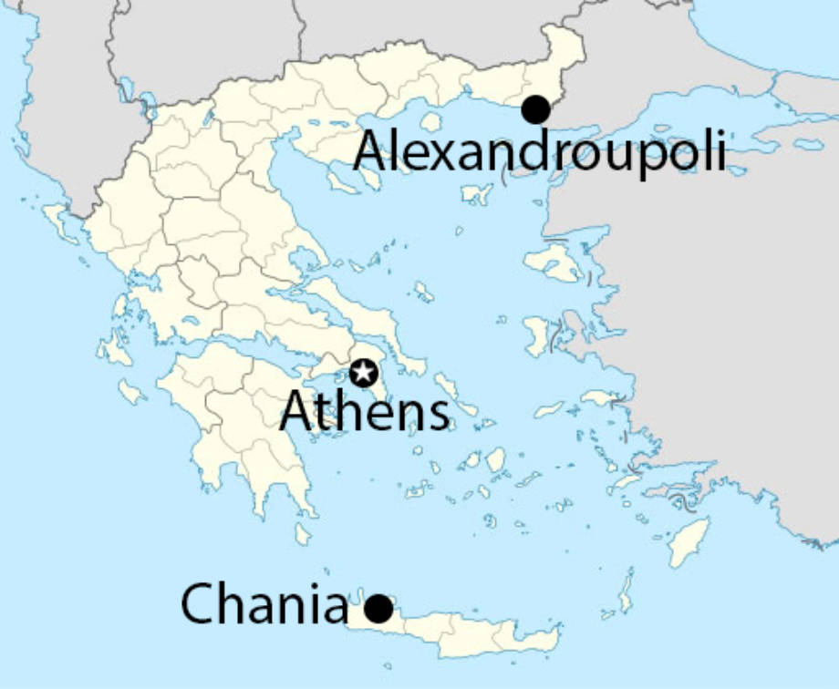 The Greek hometowns of Theodoros Skevas and Nicholas Kalaitzandonakes is approximately 382 miles, as the crow flies. Graphic courtesy of Wikimedia Commons.