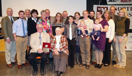 Charlie and Leslie Rosenkrans' blended families celebrated his latest award with him at the Livestock Symposium in Kirksville.