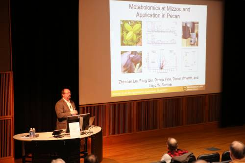 Lloyd Sumner, Metabolomics Center, University of Missouri, presents during the Agroforestry Symposium on Jan. 26.